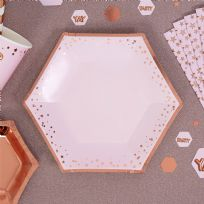 Glitz & Glamour Pink & Rose Gold Stars Medium Plates (8)
